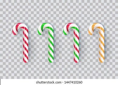 Christmas realistic striped stick candy set isolated on transparent background. Vector 3d sweet traditional gift illustration. Holiday xmax decoration design elements.