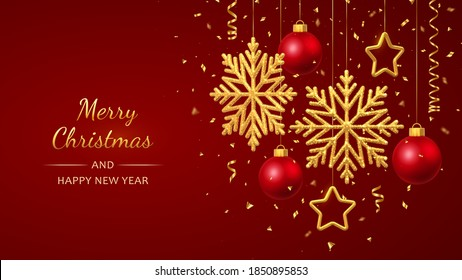 Christmas red background with hanging shining golden snowflakes, 3D metallic stars and balls. Merry christmas greeting card. Holiday Xmas and New Year poster, web banner. Vector Illustration.