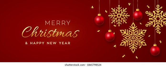 Christmas red background with hanging shining golden snowflakes and balls. Merry christmas greeting card. Holiday Xmas and New Year poster, web banner, header website. Vector Illustration.