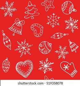 Christmas red background. Seamless vector pattern.