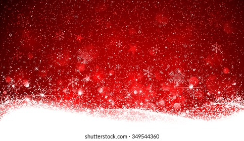Christmas Red Background with Snowflakes and Snow. Vector illustration