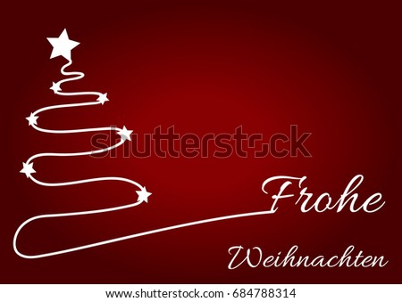 christmas red background with white christmas tree and wish written in german language frohe weihnachten - When Was White Christmas Written