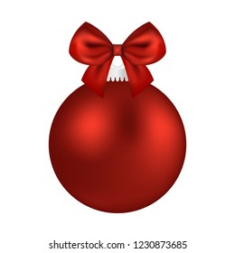 Christmas red ball with bow on a white background