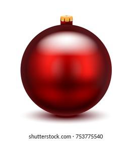 Christmas red ball on white background. Vector illustration.