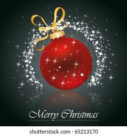 Christmas red ball whit stars . Vector eps10 illustration