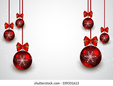Christmas red balls background. Vector illustration