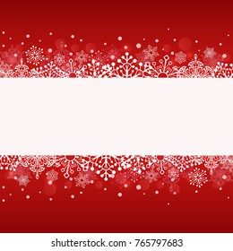 Christmas red banner with white copy space with cut snowflake shapes template. Winter background. Vector illustration.