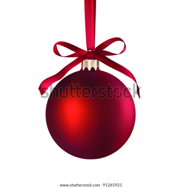 Christmas red bauble ball hanging on a ribbon isolated on white, vector illustration