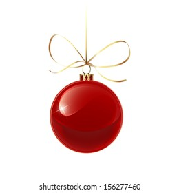 Christmas red bauble with gold ribbon