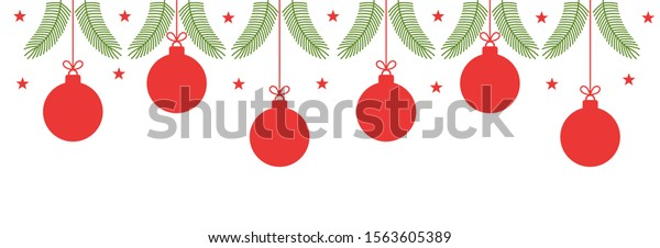 Christmas red baubles ornaments border. Vector illustration.