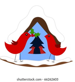 Christmas in red bird family. Vector illustration