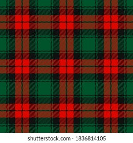 Christmas Red, Dark Green and Black Tartan Plaid Vector Seamless Pattern. Rustic Xmas Background. Traditional Scottish Woven Fabric. Lumberjack Shirt Flannel Textile. Pattern Tile Swatch Included.