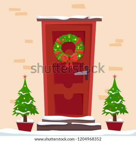 Christmas Red Door Wreath Snow Fir Stock Vector Royalty Free
