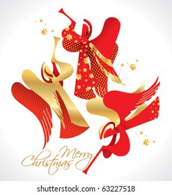 Christmas red and gold figured Angels with stars on a white background. Vector illustration.