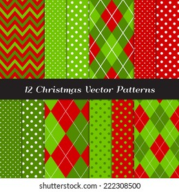 Christmas Red and Green Chevron, Argyle and Polka Dot Patterns. Vector Pattern Swatches made with Global Colors.