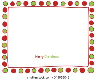 Christmas Red and Green Circle Background. Photo Frame Border, Scrapbook Embellishment. Vector Illustration.