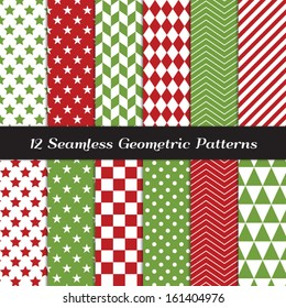Christmas Red and Green Geometric Seamless Patterns. Backgrounds in Diamond, Chevron, Polka Dot, Checkerboard, Stars, Triangles, Herringbone and Stripes Patterns. Pattern Swatches with Global Colors.