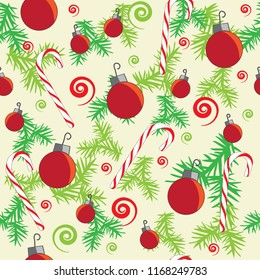Christmas red green pine ornaments swirls seamless pattern