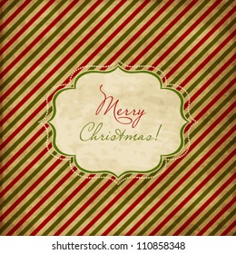 Christmas red and green striped card