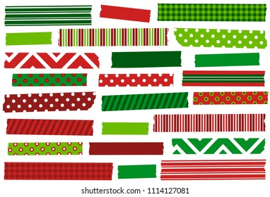 Christmas red and green washi tape strips. Semitransparent tape strips. Masking tape. Holiday decorations. Xmas. For cards, crafts, scrapbooking and more.