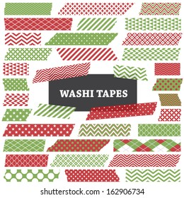 Christmas Red and Green Washi Tape Strips. Semitransparent. Photo Frame Border, Blog, Clip Art, Scrapbook Embellishment. Global colors.
