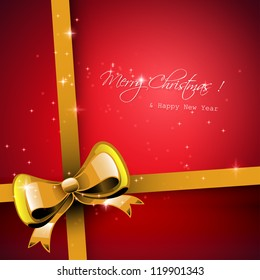 Christmas red greeting card with gold ribbon
