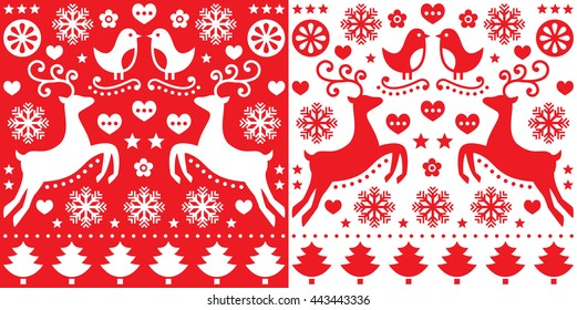 Christmas red greetings card pattern with reindeer - folk art style