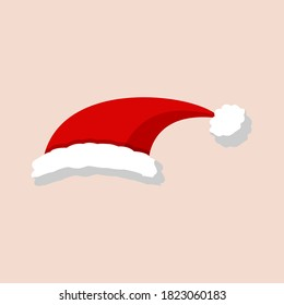 Christmas red hat. Santa Claus costume vector illustration. New Year photography portreit element