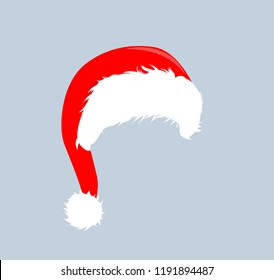 Christmas red hats icon. Santa Claus costume vector illustration. New Year photography portreit element.