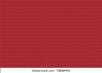 Christmas red knitted pattern. Woolen cloth. Vector illustration. EPS10.
