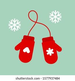 Christmas red mittens gloves. Vector illustration.