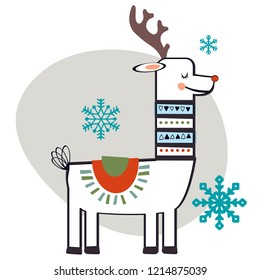 Christmas red nose reindeer or caribou, hand drawn style. Snowflakes. Vector illustration.