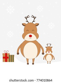 Christmas Red Nose Reindeer On Snow, Christmas Presents, Christmas Card, Vector Illustration
