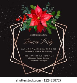 Christmas red poinsettia, eucalyptus, fir branch, barberry vector design winter frame on black. Pink gold polygonal line art with glitter. Geometric card. Party invitation. Isolated and editable