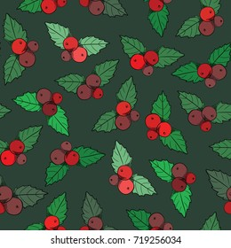 Christmas red and purple berries seamless pattern. Vector illustration on dark green background
