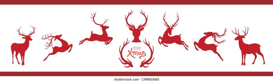 Christmas red rindeers illustration set
