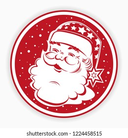 Christmas red round sign, stamp with silhouette of Santa Claus face, stars and snowflakes, element for design.
