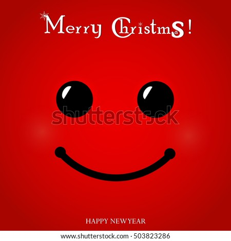 christmas red smiley face text merry stock vector royalty free