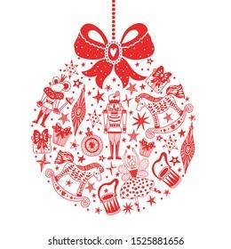 Christmas red tree ball. Christmas vector card. Around motif. Ballet the Nutcracker.