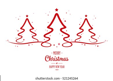 christmas red trees greeting white background