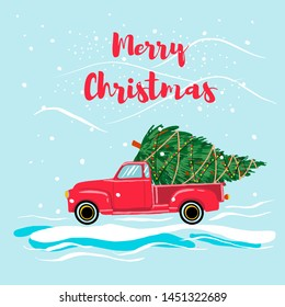 Christmas red truck with a Christmas tree . Cartoon style. Happy holiday poster.