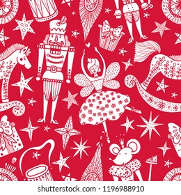 Christmas red vector seamless Nutcracker pattern.  Seamless pattern can be used for wallpaper, pattern fills, web page background, surface textures.