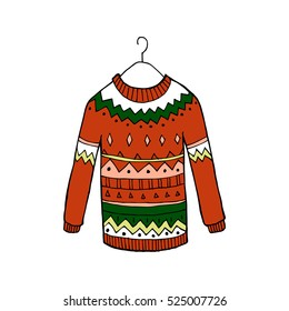 Christmas red vector sweater
