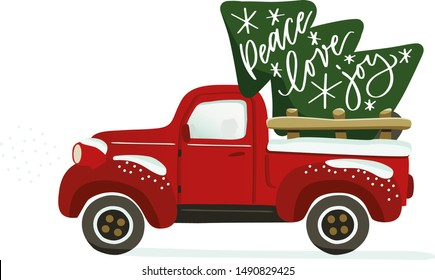 Christmas red vintage truck mowing to the left vector clipart with lettering. Isolated clip art for holiday greeting card, wall art, decoration, sublimation print. Pickup car with a pine and snow.
