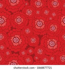 Christmas Reddish Flower Seamless Pattern