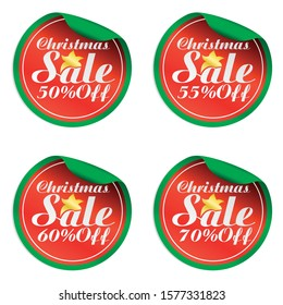 Christmas red,green sale stickers set 50%, 55%, 60%, 70% off.Vector illustration