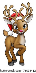 A Christmas reindeer cartoon character wearing a Santa Claus hat