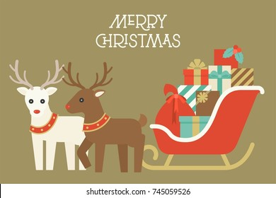 Christmas reindeer with collar and pile of present boxes on Santa's sleigh, flat design vector for merry christmas