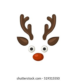 Christmas reindeer. Funny cartoon icon. Isolated object on white background. Vector illustration.