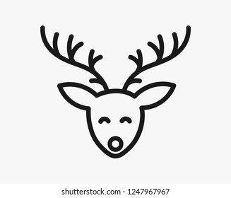 Christmas reindeer head line icon. Vector illustration.